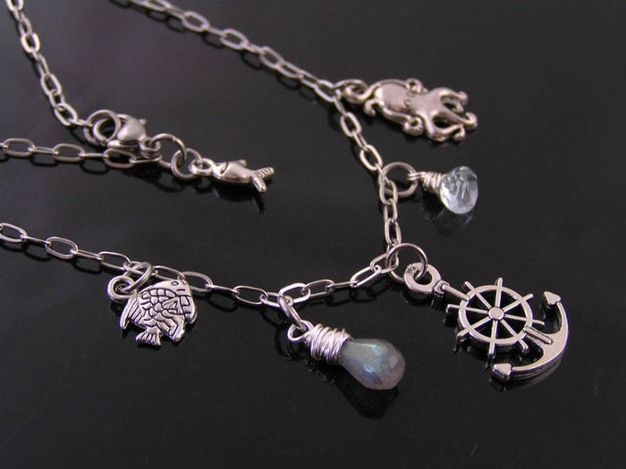 Love the Ocean? Dreaming of the Sea? Necklace with Labradorite, Blue Topaz and Charms