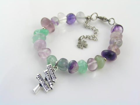 Success Money Happiness, Fluorite Bracelet with Inspirational Road Sign