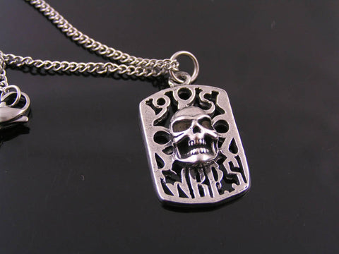 Dog Tag with Skull Necklace, Biker Jewelry, Gothic Necklace