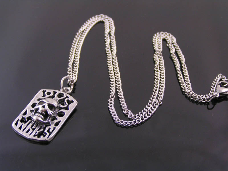 Dog Tag with Skull Necklace, Biker Jewelry