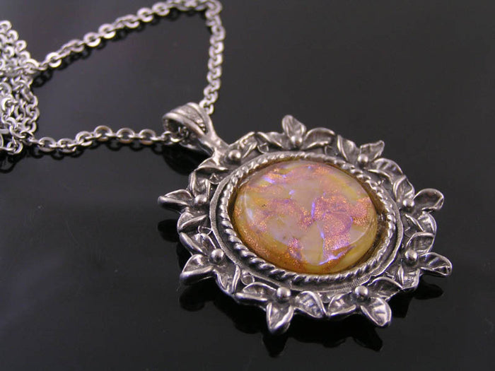 Glass Opal Necklace, Gift Idea