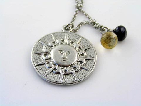 Reversible, double-sided Sun and Moon Necklace with Iolite and Citrine