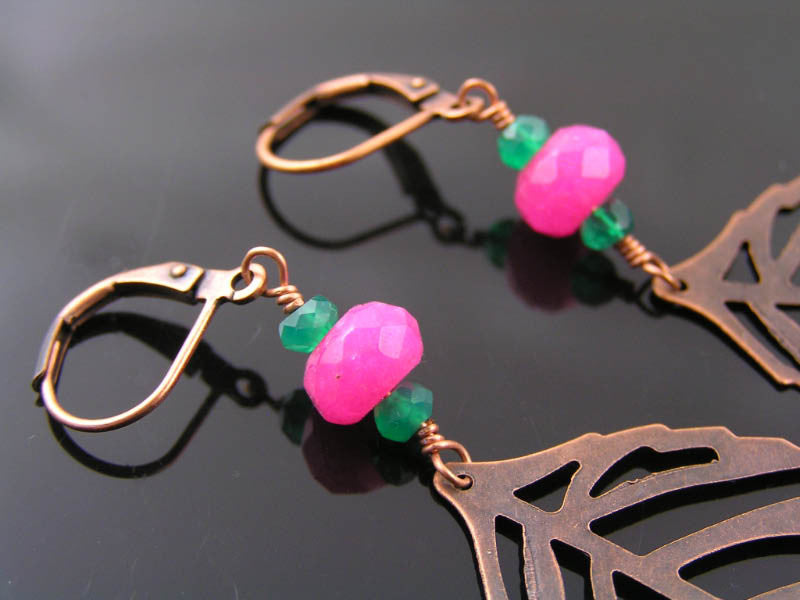 Filigree Leaf Earrings with Pink Jade and Green Onyx