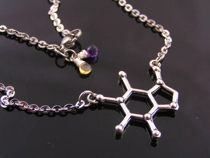 Serotonin Molecule Necklace with Amethyst and Citrine