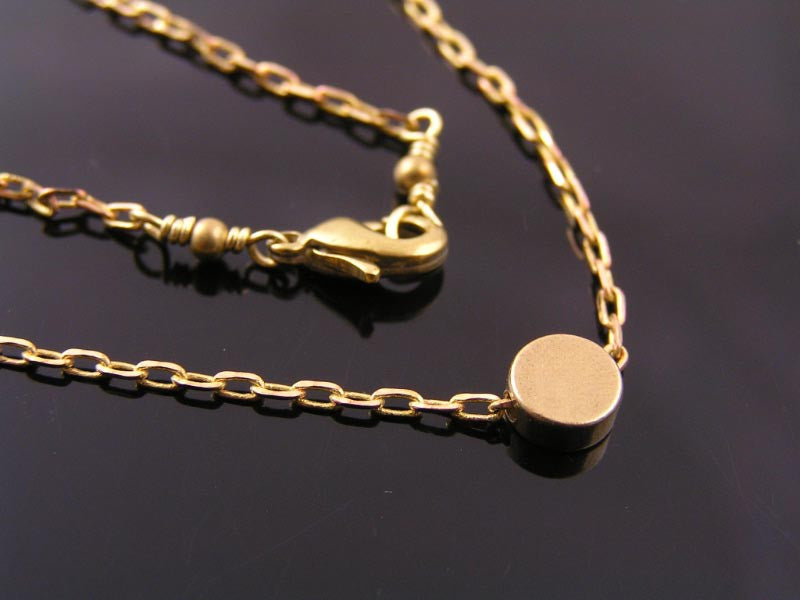 Golden Dot Necklace, Wire Wrapped Solid Brass