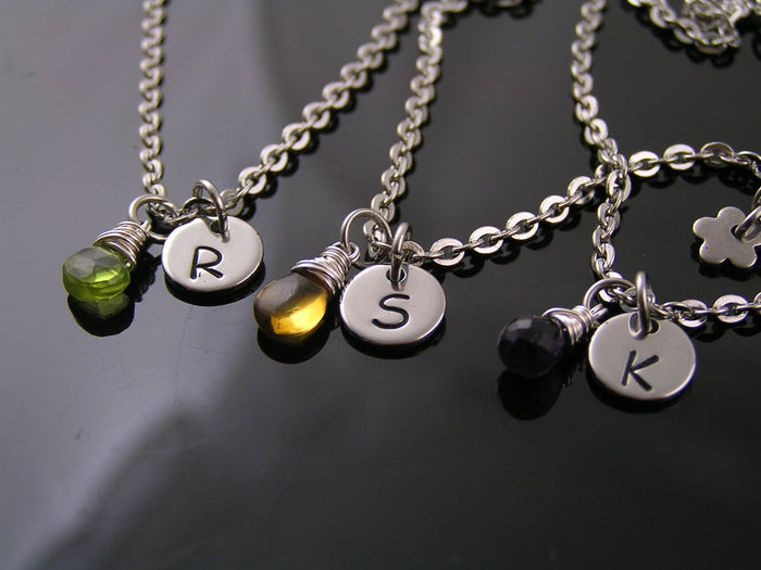Initial Necklace with Birthstone, Bridesmaids Gifts