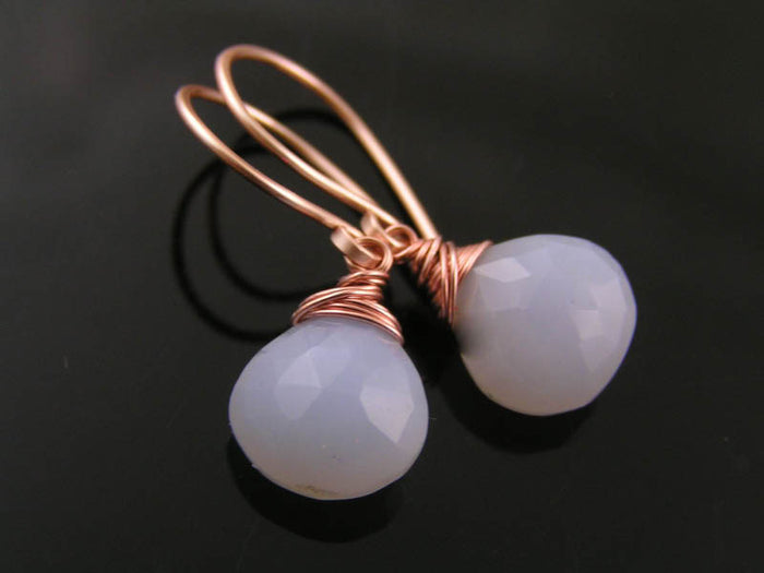 Natural Holly Blue Chalcedony Earrings in Rose Gold