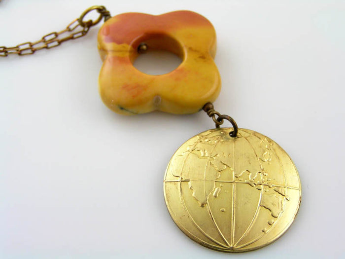Mookaite Necklace with World Map Pendant