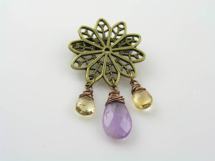 Flower Brooch with Amethyst and Citrine