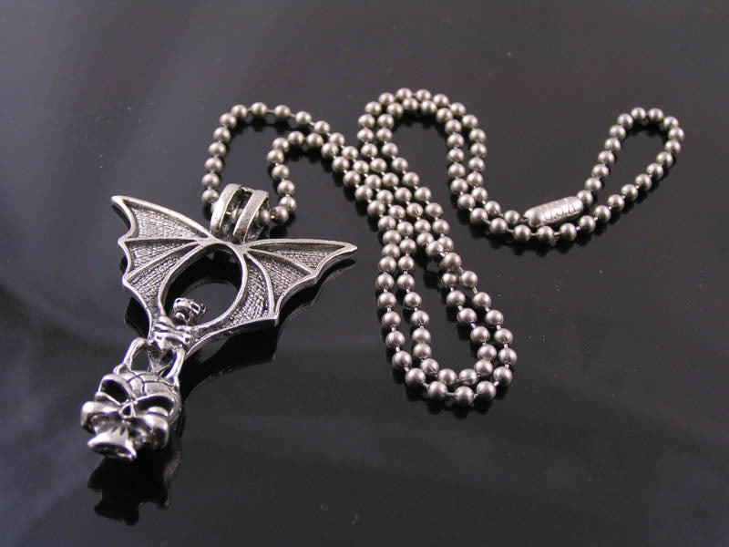 Biker Necklace with Large Bat, carrying a Skull