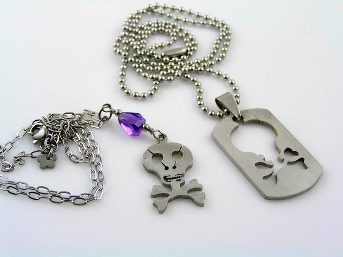 Matching Couple Necklaces with Skulls