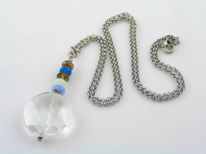 Statement Necklace with Rock Quartz and Czech Glass Beads.