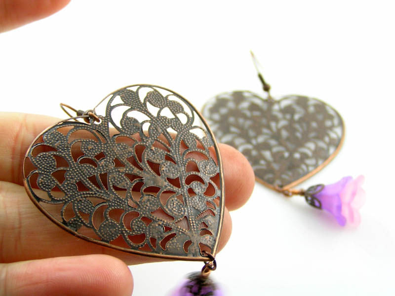 Filigree Heart and Flower Earrings