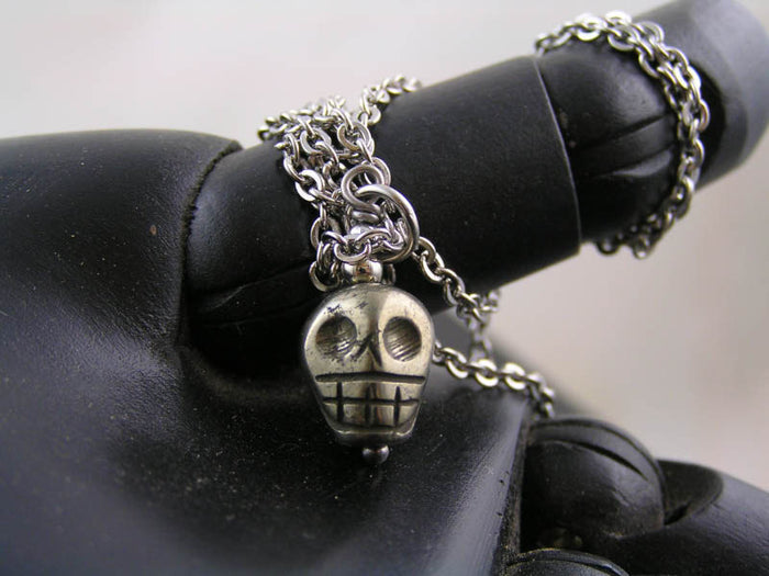 Carved Pyrite Skull on Stainless Steel Necklace