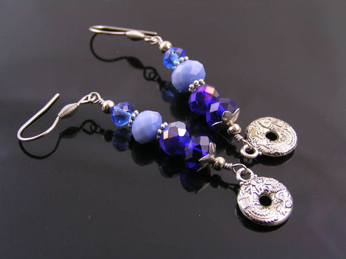 Blue Crystal Earrings, Shiny Stainless Steel