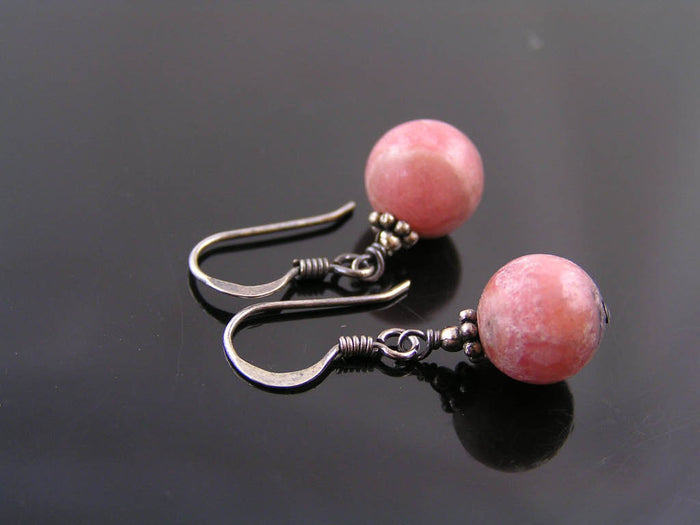 Rhodochrosite Earrings, Sterling Silver