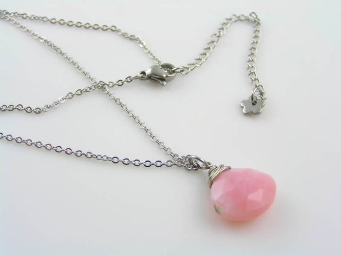 Pink Opal Necklace, Genuine Opal