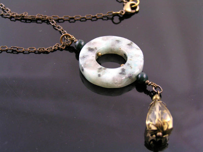 Kiwi Jasper Necklace with Citrine, Bohemian Jewellery