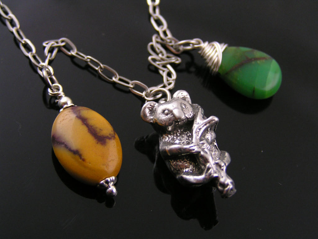 Mookaite and Boomerang Charm Necklace