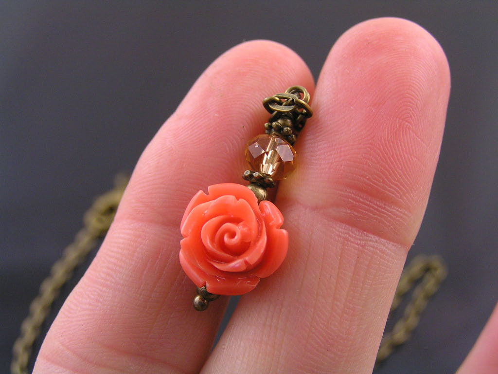 Carved Coral Flower Necklace