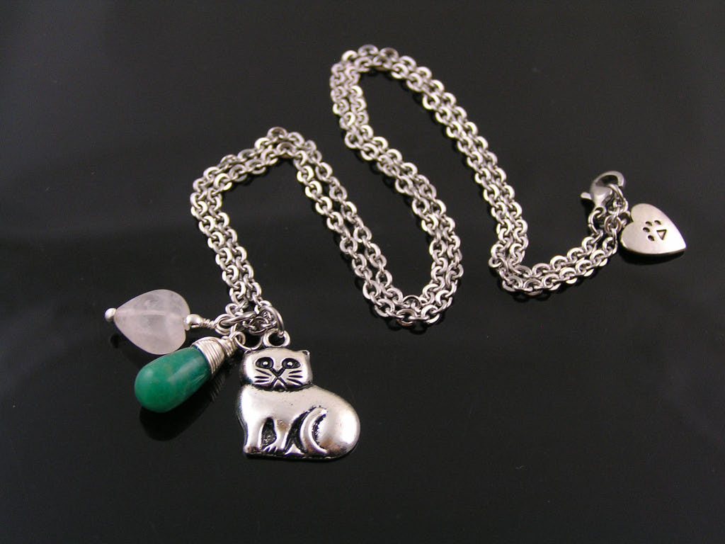 Cat Charm Necklace with Russian Amazonite and Rose Quartz