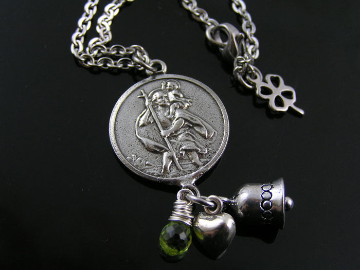 St Christopher Necklace with Peridot and Gremlin Bell
