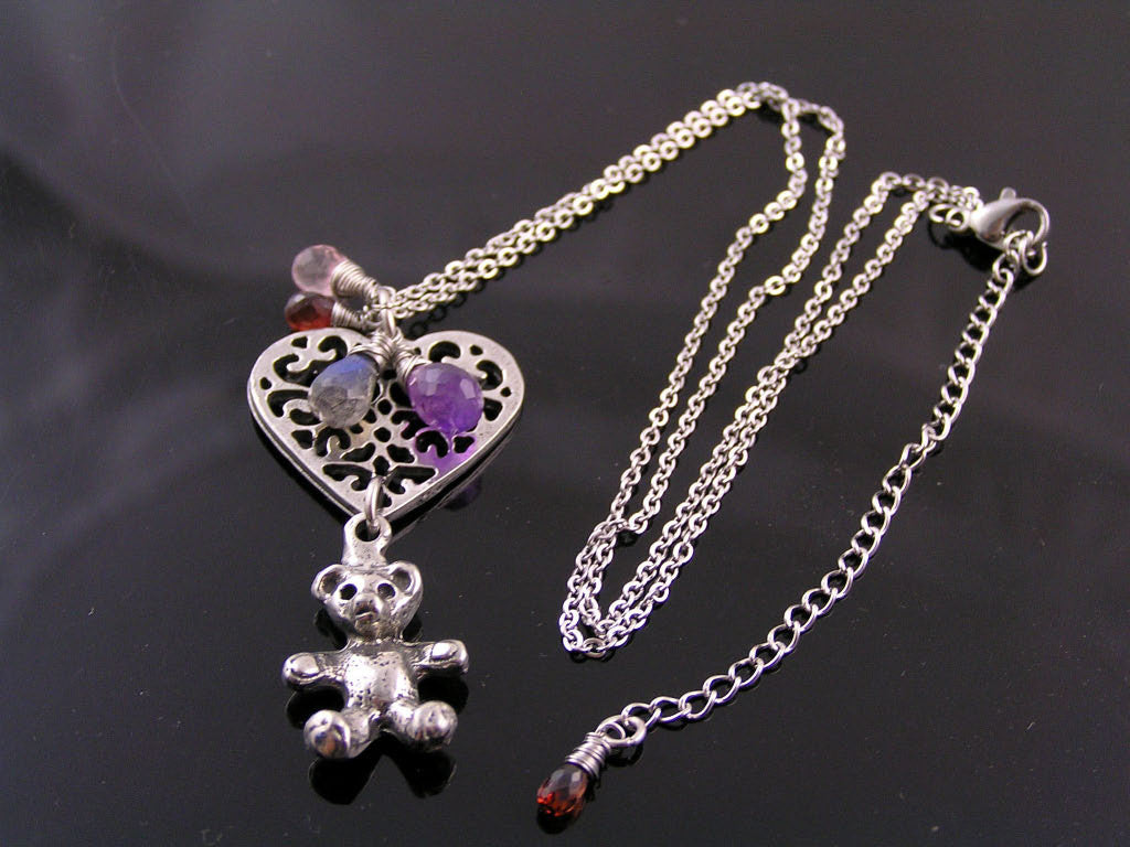 Teddy Bear Necklace with Heart Pendant and Gemstones