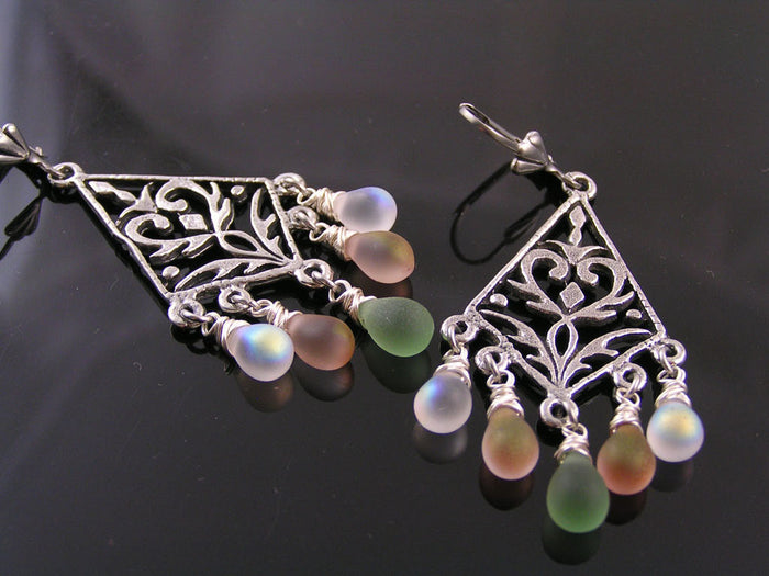 Chandelier Earrings with Czech Glass Drops