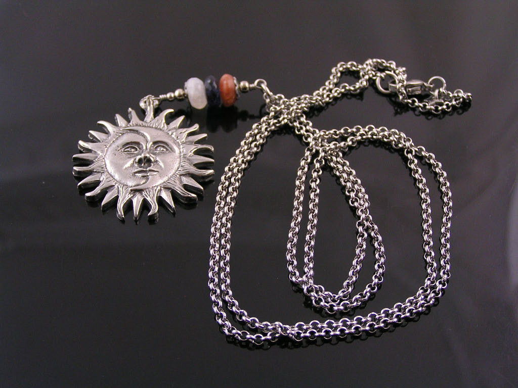 Long Rolo Chain with Sun and Moon Pendant