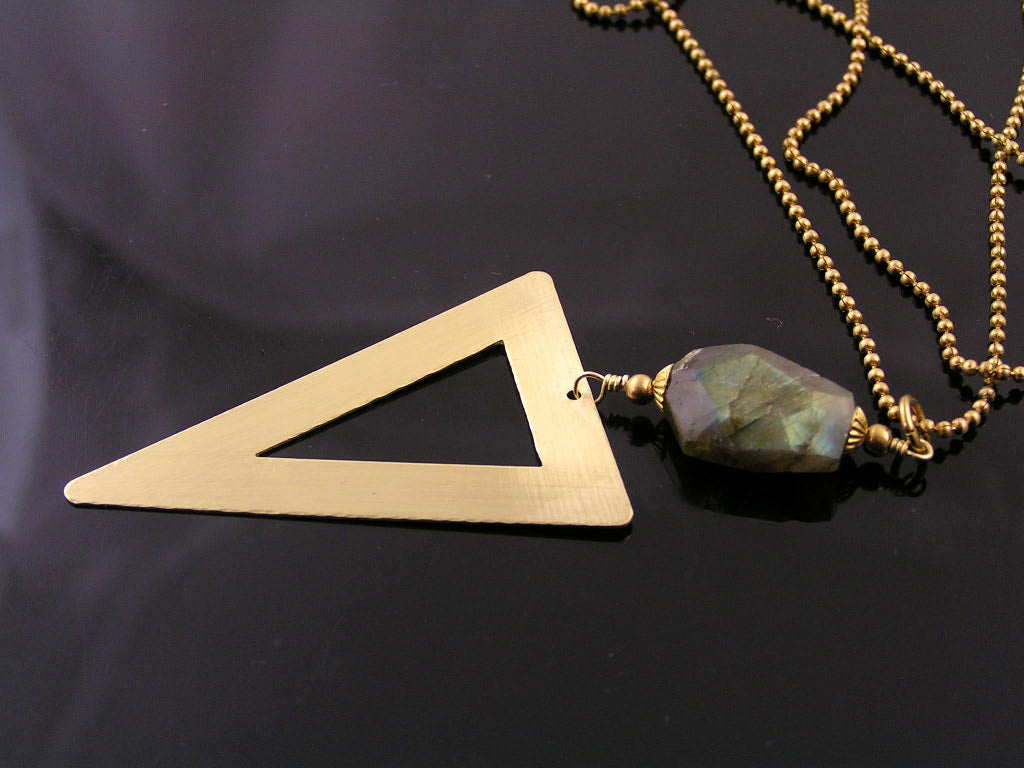 Matching Necklace with Golden Brass Triangle Pendant