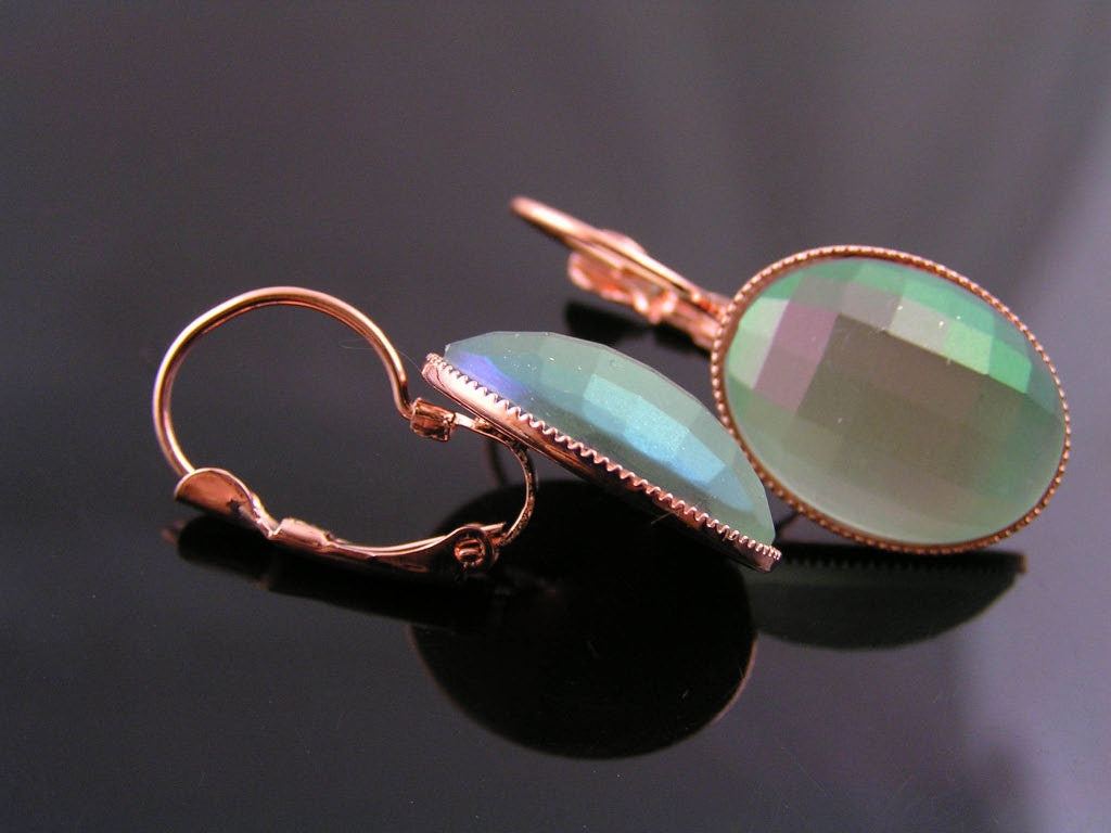 Rose Gold Earrings with Green Cabochons