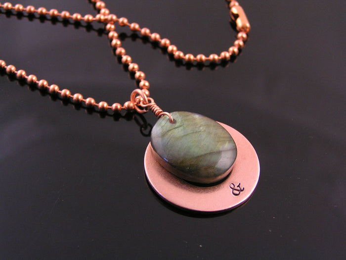 Personalized Labradorite and Copper Necklace, Couple Initials