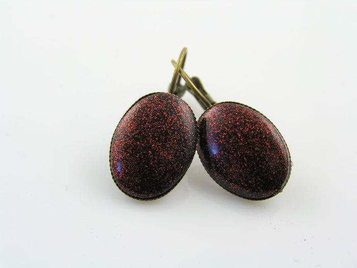 Oval Cabochon Earrings, Red Glitter