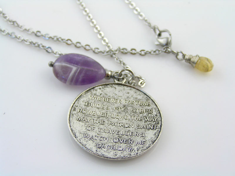 Traveler's Prayer Necklace with Amethyst