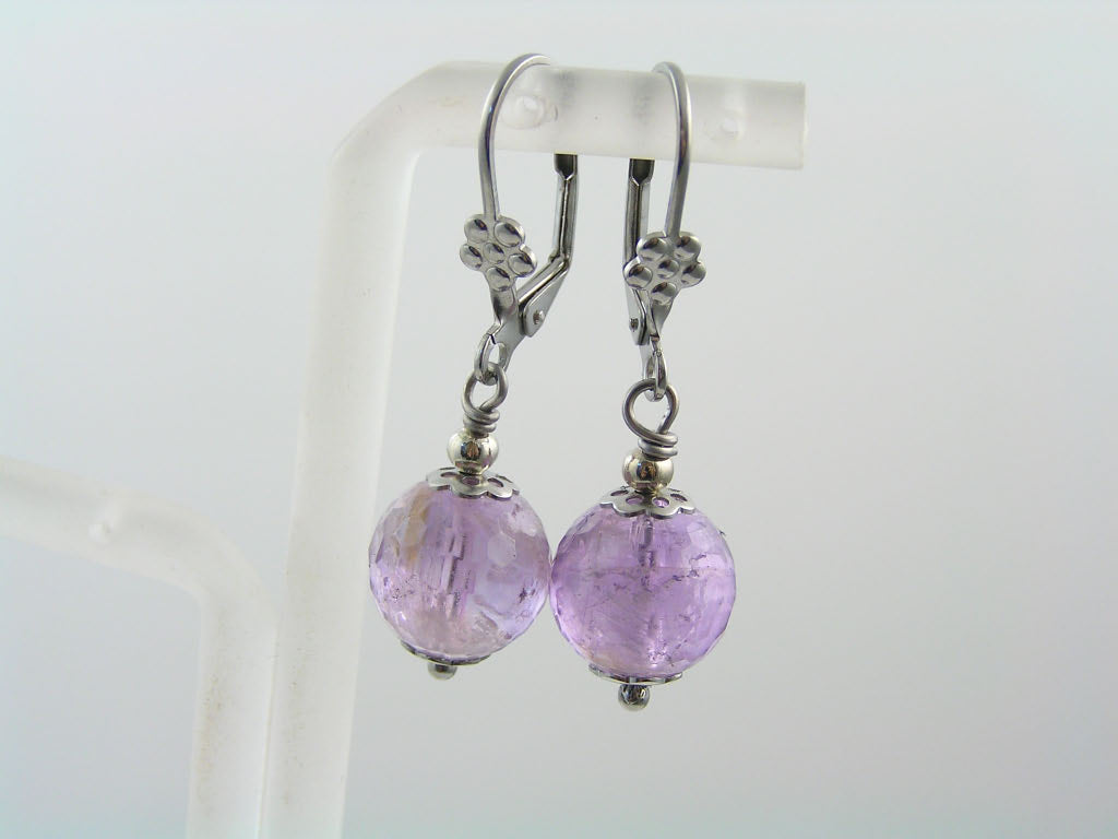 Purple and Silver Earrings