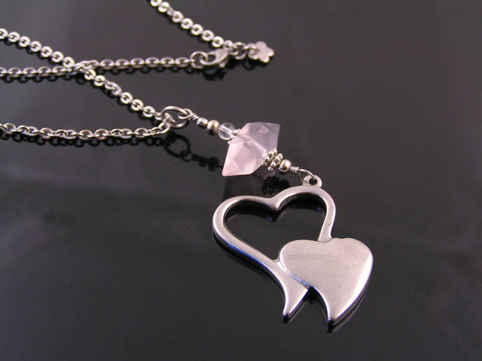 Double Heart Pendant with Rose Quartz Necklace