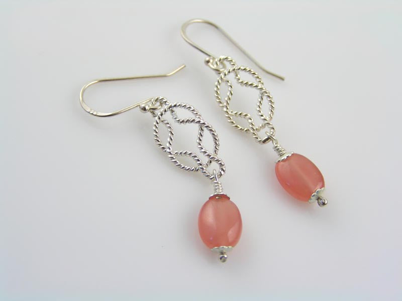 Sterling Silver Eternity Knot Earrings with Rhodochrosite