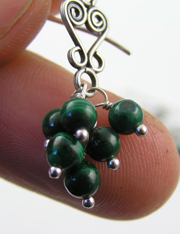 Malachite Sterling Silver Chandelier Earrings