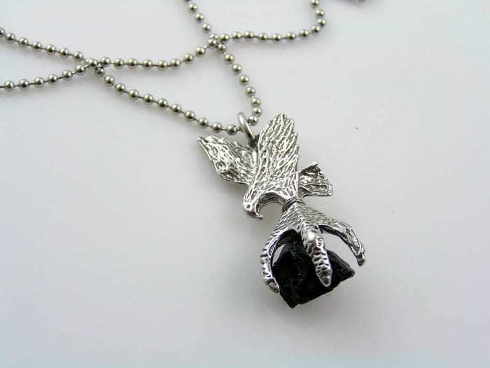 Eagle Necklace with Claw Pendant and Tourmaline