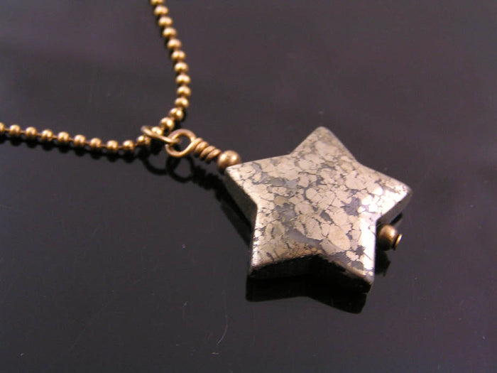 Carved Pyrite Star Necklace, Fool's Gold