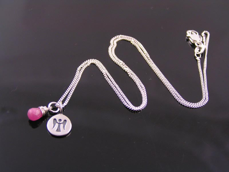 Sterling Silver Necklace with Ruby and Angel Charm