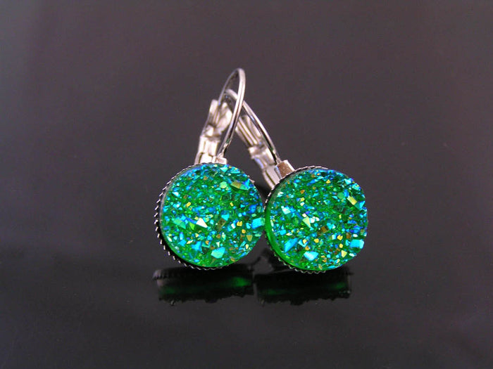 Sparkling Green Druzy Earrings