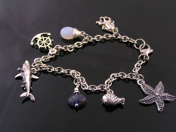 Bracelet with Shark Charm, Blue Chalcedony and Iolite