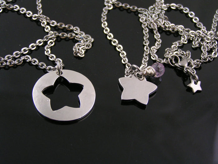 Matching Couple Necklaces with Star Pendants and Rose Quartx