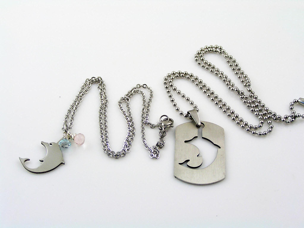 Matching Couple Necklaces with Dolphines and Gemstones
