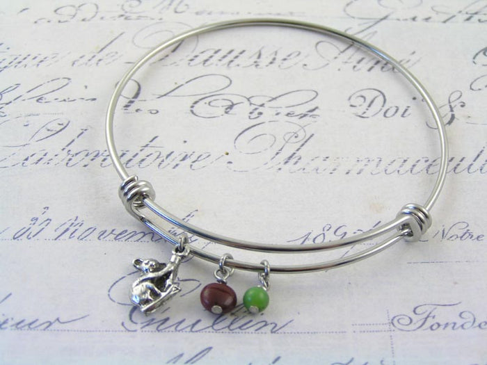 Adjustable Bangle with Charms, Koala, Mookaite and Chrysoprase