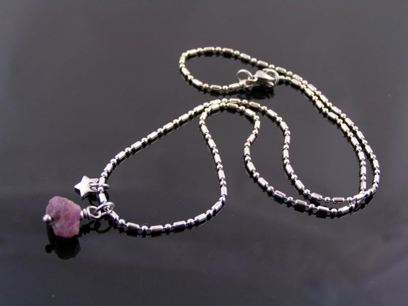 All Natural Ruby Nugget Necklace