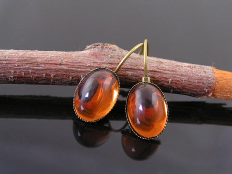 Glowing Amber Cabochon Earrings