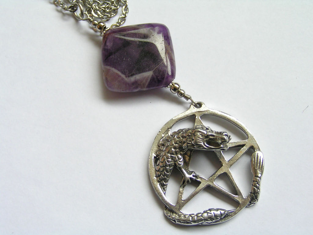 Pentagon and Dragon Pendant with Amethyst Necklace