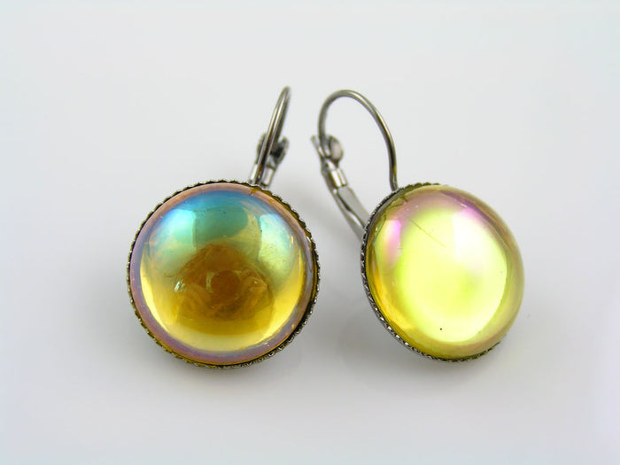 Yellow Cabochon Earrings